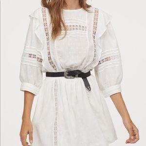H&M NBW Jacquard weave white mini dress